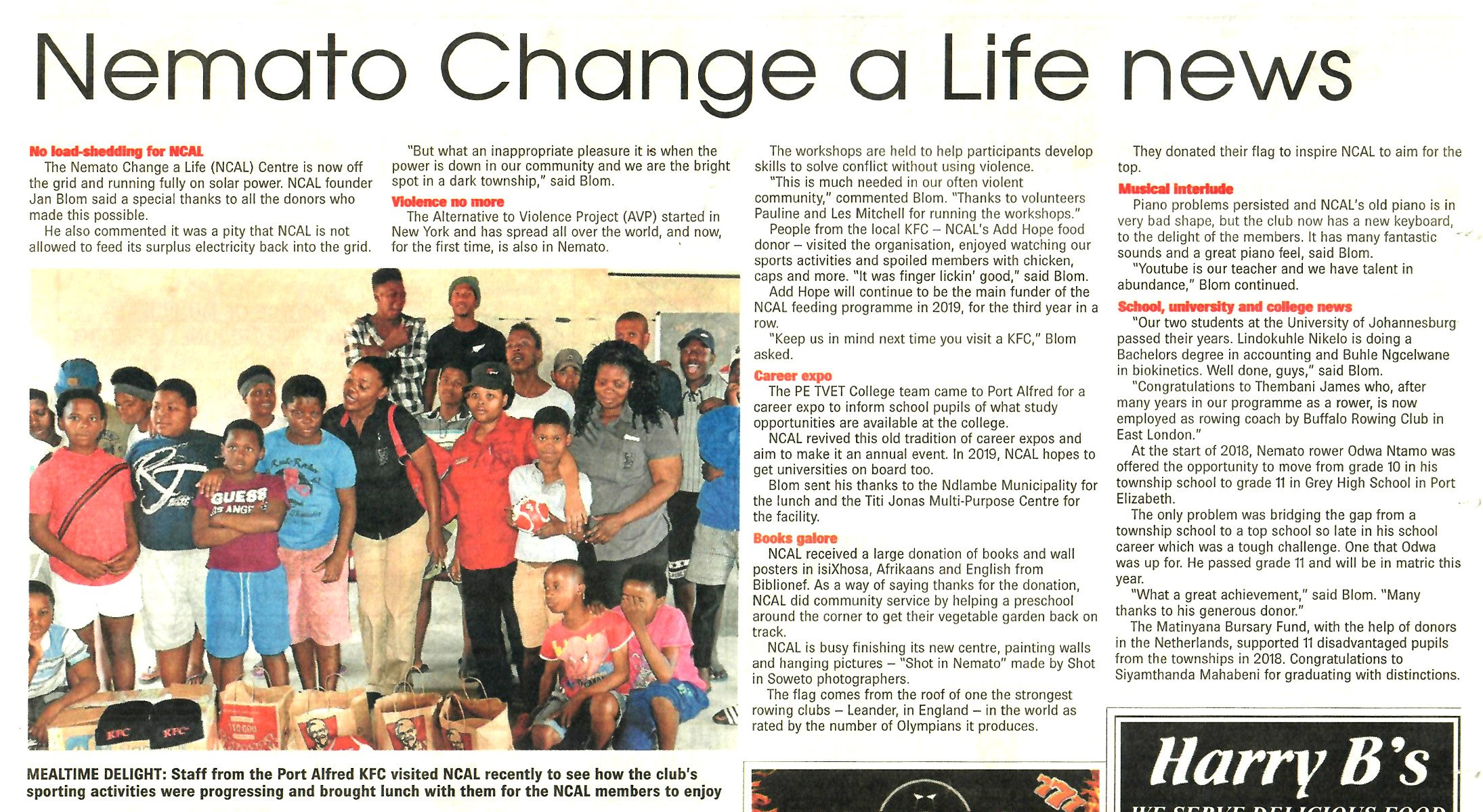 Nemato Change a Life / Matinyana Fund: empowerment for youth